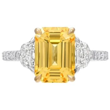 A four-carat unheated yellow Ceylon sapphire ring, offered by Merkaba