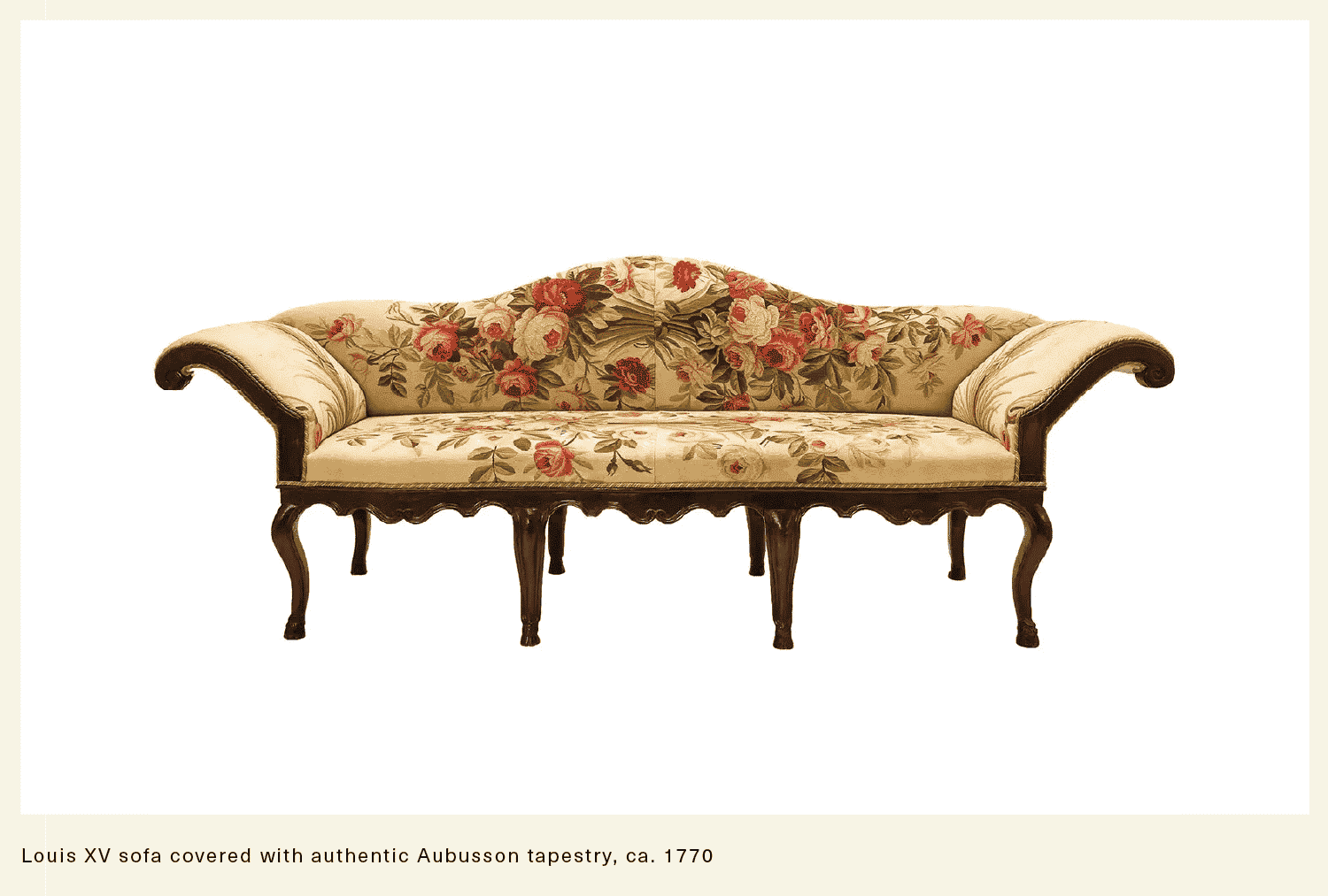 antique sofa covered with authentic chintz tapestry