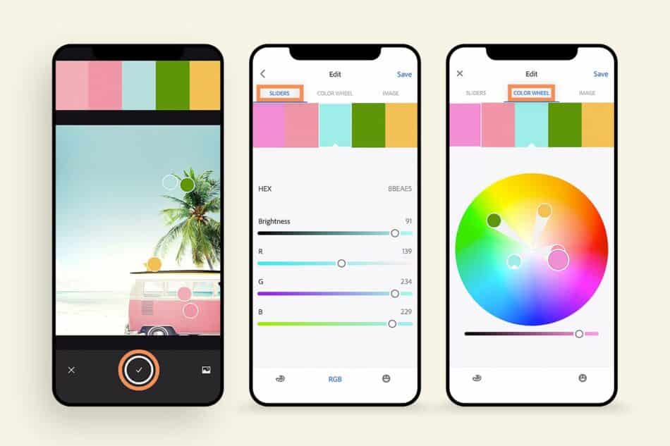 Three images of phones showing the app in use coloring a photo
