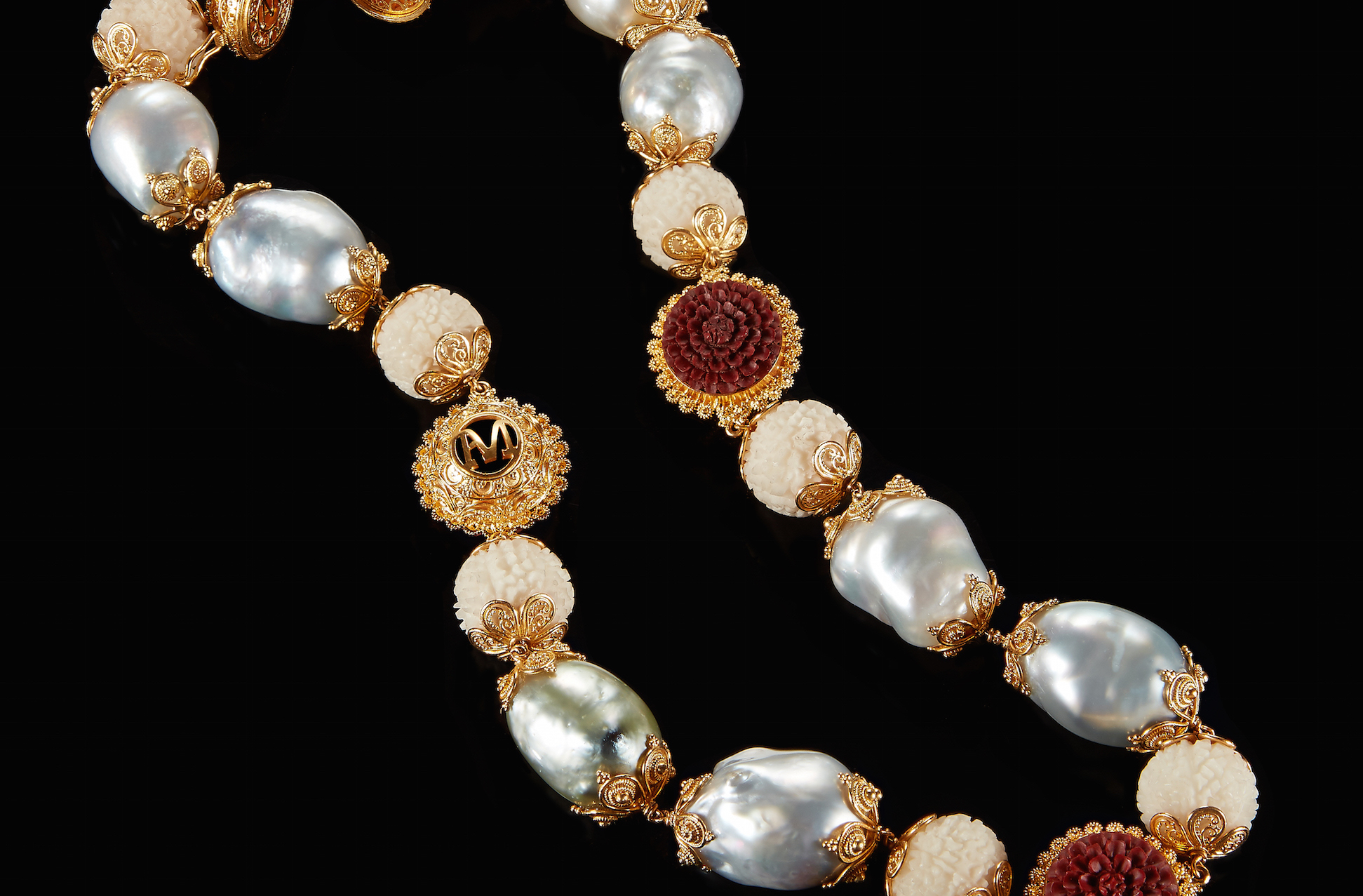 Red tagua long brooch tagua nut jewelry pearl gold brooch