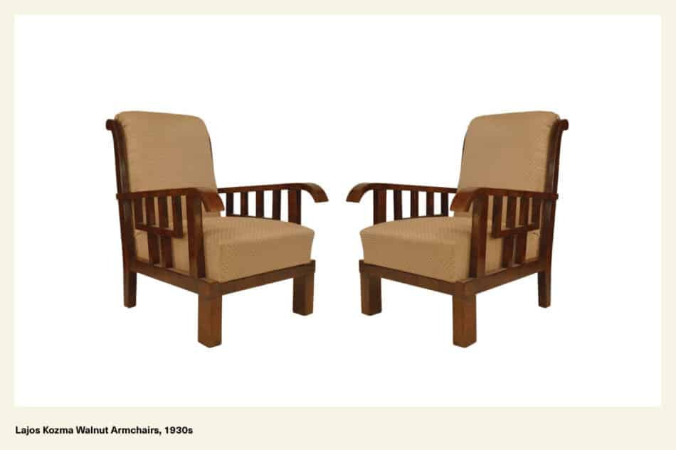 two lajos kozma walnut armchairs facing each other