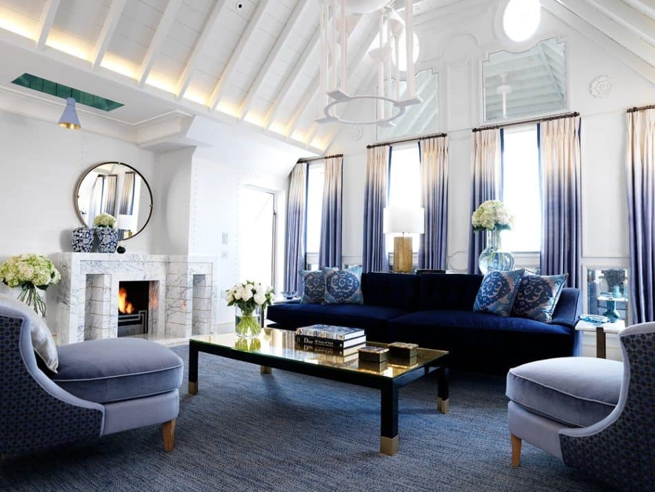 blue and white living room by David Collins Studio