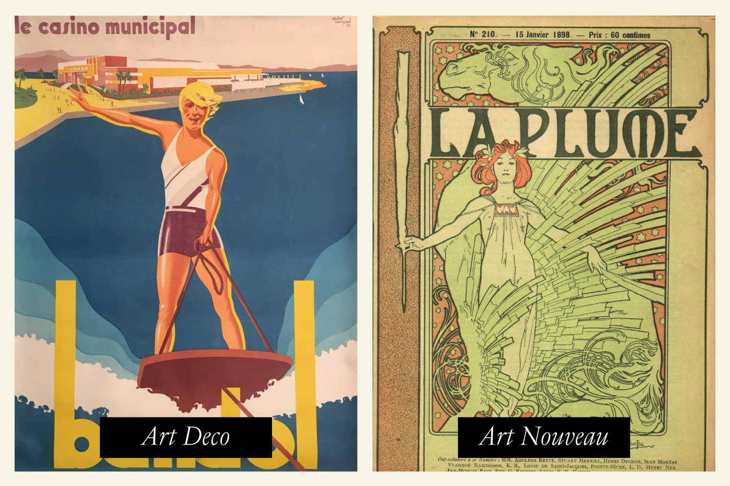 art deco poster and art nouveau poster side by side