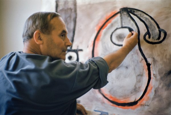 Joan Miró at Work in His Studio, 1955, by Mark Shaw