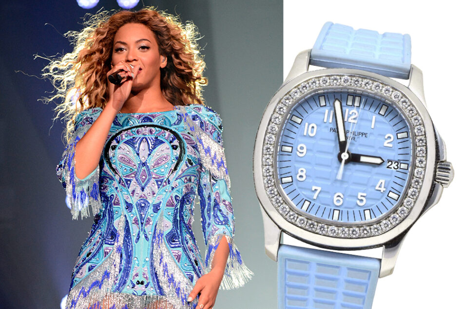 """Left: Beyoncé performs in New York during the """"The Mrs. Carter Show World Tour"""" in August 2013. Right: A 2010 Patek Philippe Aquanaut watch in steel with diamond bezel, offered by Brilliance Jewels"""