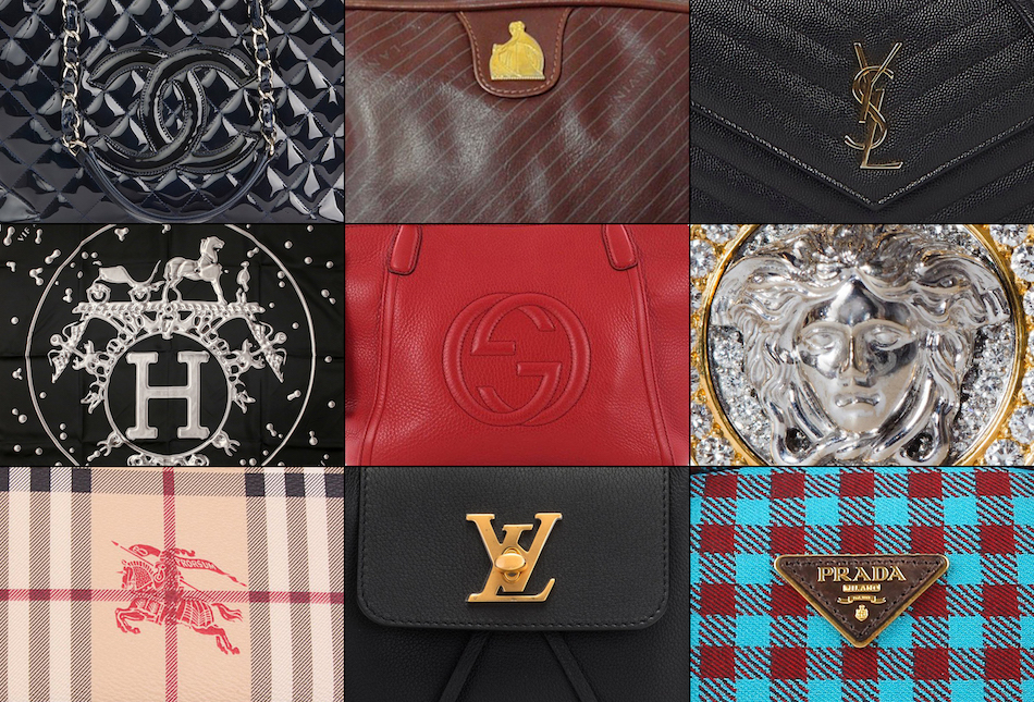 logos of Chanel, Lanvin, YSL, Hermes, Gucci, Versace, Burberry, Louis Vuitton, Prada