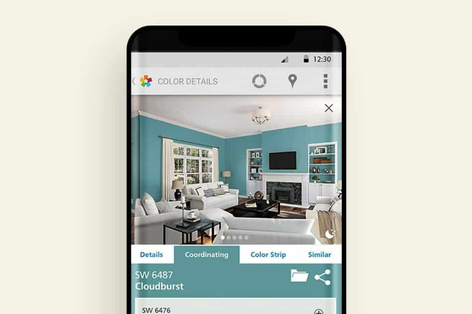 Image of a phone showing a living room with blue walls