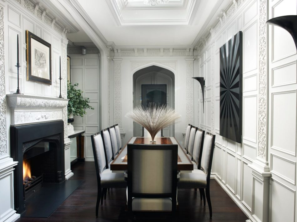 Hubert Zandberg designed this handsome dining room featuring a scagliola-inlay rosewood dining table.