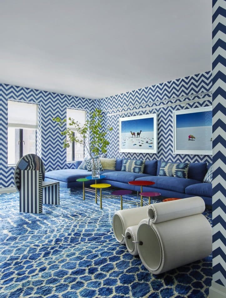blue and white family room by Kelly Behun