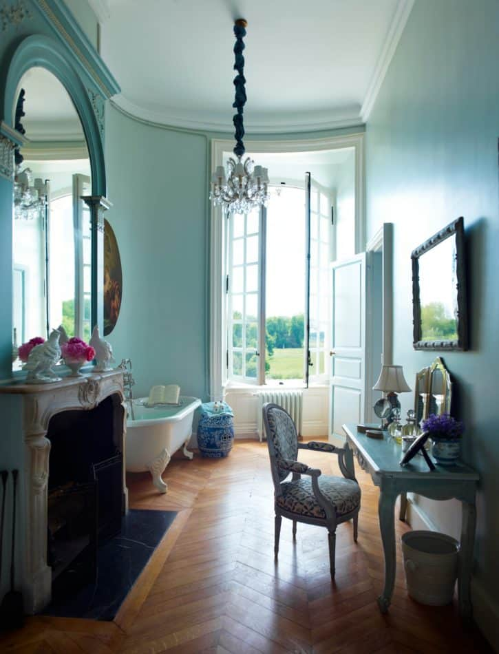 Bathroom in French countryside by Timothy Corrigan, Inc