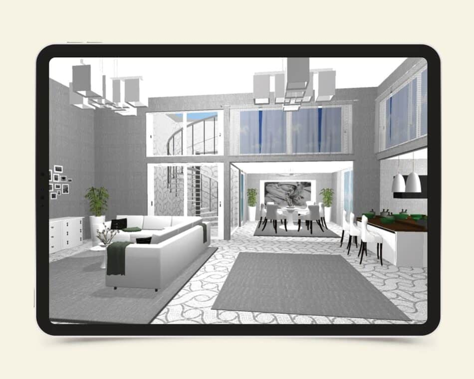 A tablet showing a recreation of a house with multiple rooms and white decor
