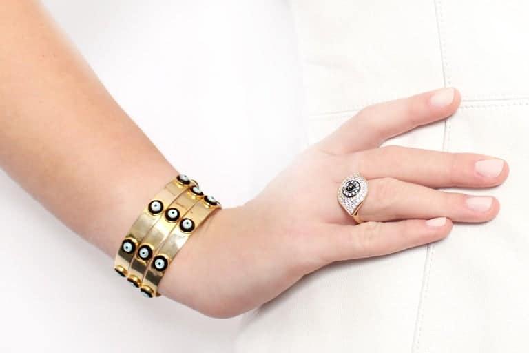 Clarissa Bronfman 14 Karat Yellow Gold Evil Eye Ring with Diamonds and Enamel 'Dino Evil Eye' Gold Bangles