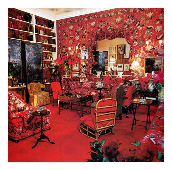 """Diana Vreeland requested that Baldwin create a """"Garden in Hell"""" for her drawing room. Baldwin found the perfect chintz at John Fowler."""