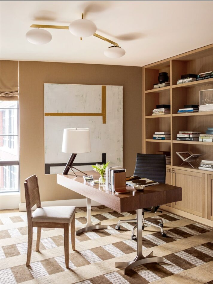 Alyssa Kapito-designed home office for a young couple in the West Village