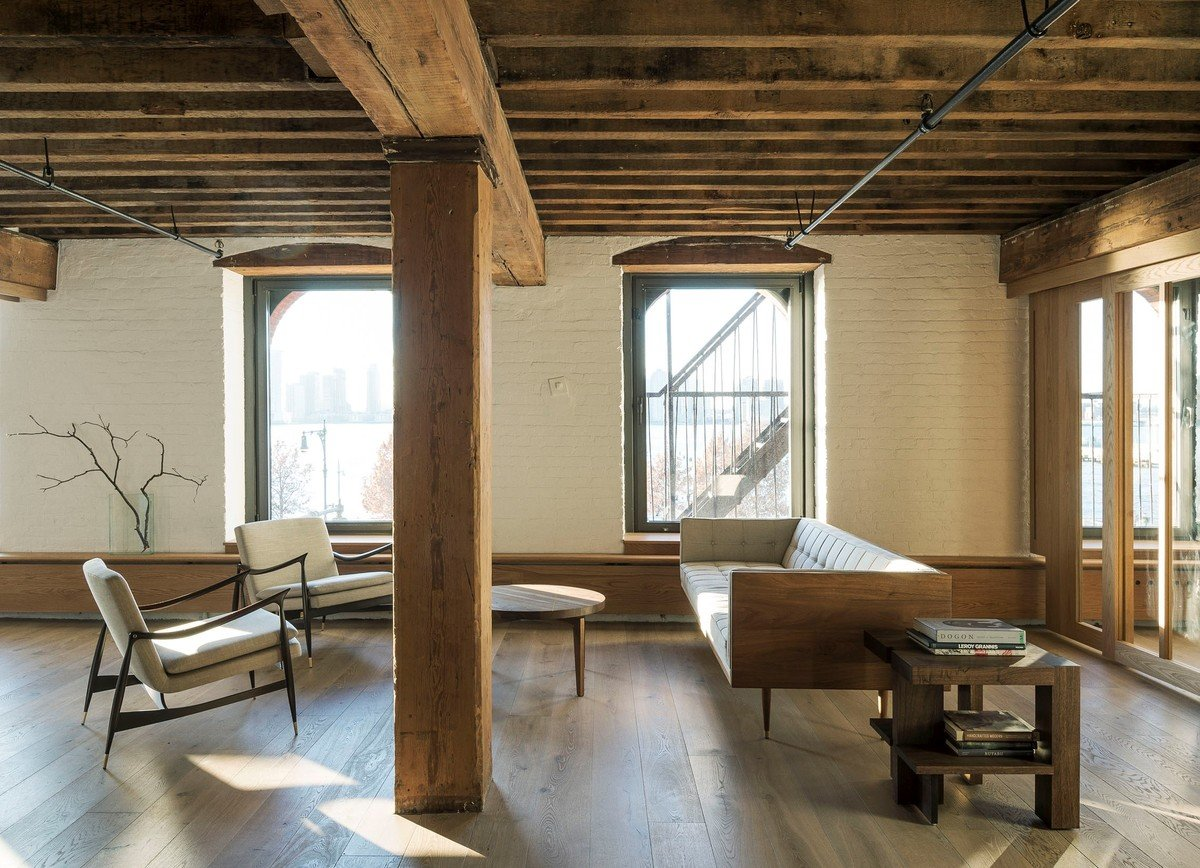 Workstead stripped this Lower Manhattan loft to the bare essentials and furnished it with streamlined mid-century modern and contemporary pieces.