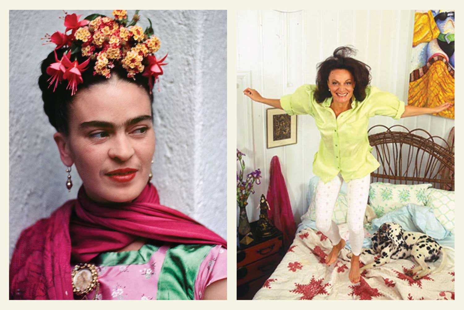 Photograph of Frida Kahlo on the left, Photograph of Diane von Furstenberg jumping on a bed on the right