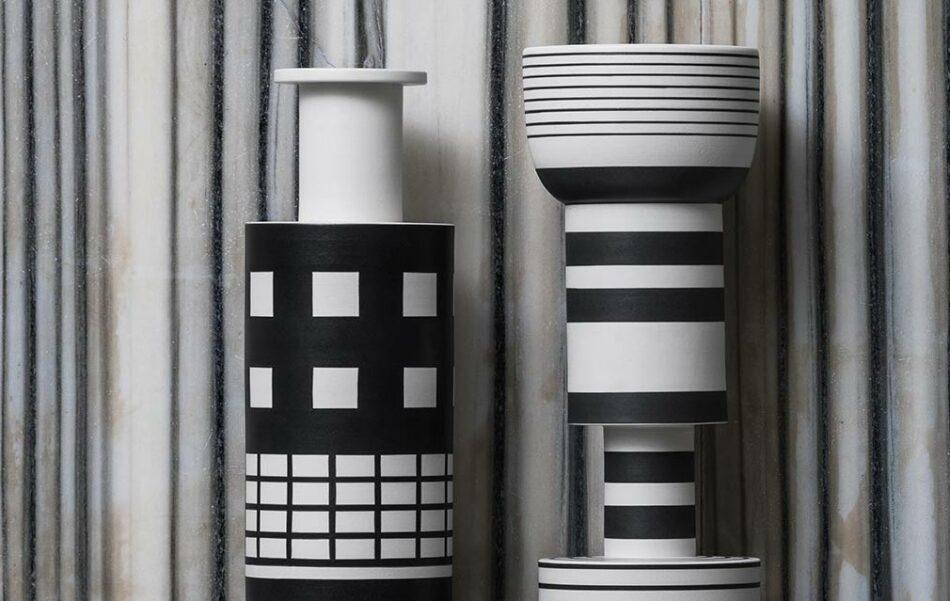 Ettore Sottsass for Bitossi Rocchetto vase and Vase goblet