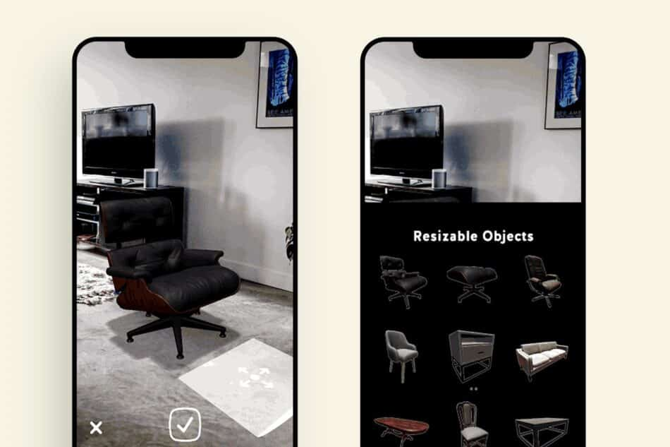 Two phones showing desk chairs artificially place in a room