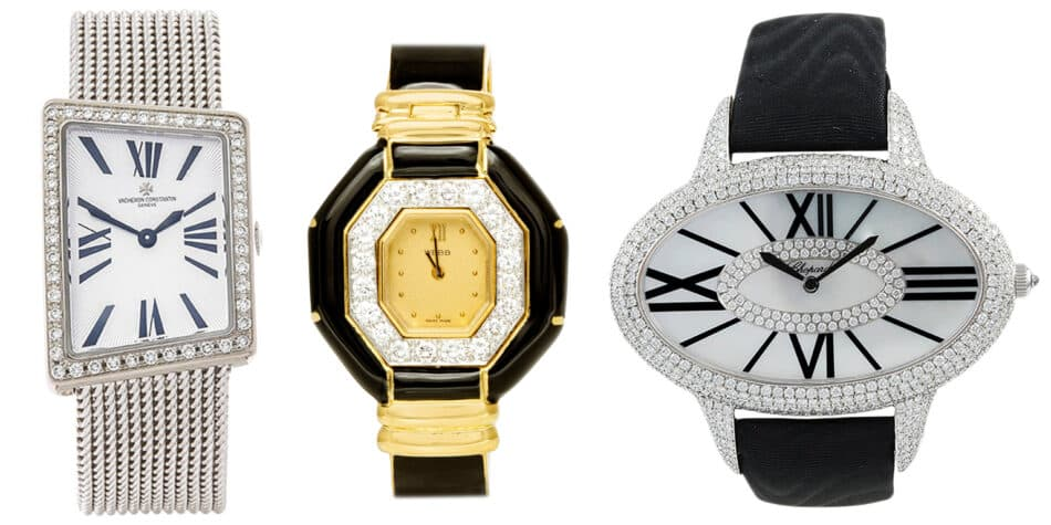 Vacheron Constantin Asymmetric MCMLXXII wrist watch, ca. 2010; David Webb gold and black enamel with diamonds watch, 1980; Chopard diamond and mother of pearl oval-shaped watch, 21st century