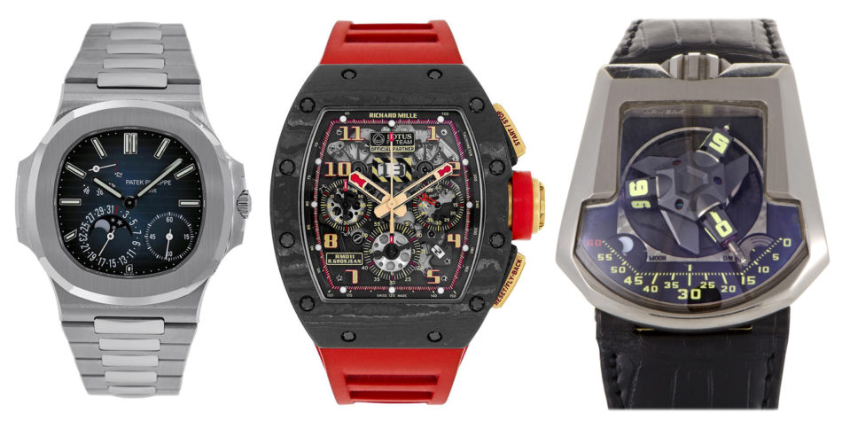 Patek Philippe Nautilus 5712/1A, 2008; Richard Mille RM 011356399, 2010; Urwerk UR 202 Men's Automatic Watch 202/WG, 21st century