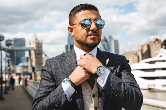Kind of blue: Bhatt in a Richard Mille RM 11-03 Jean Todt. Released in a limited edition of 150, the watch was conceived to celebrate Todt's legendary half century in auto racing.
