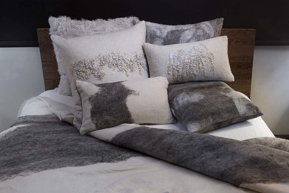 JG Switzer pillows and blanket made from felted Shetland sheep wool