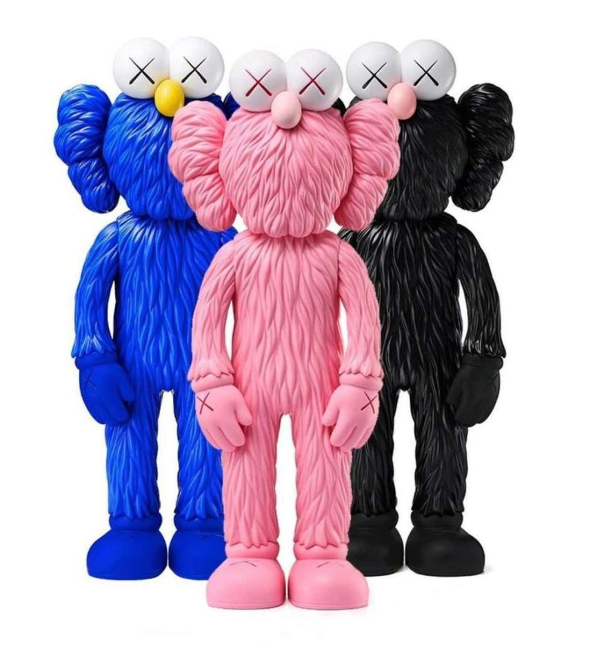 KAWS, BFF (Set of 3, Pink, Black and Blue), 2018 offered by Lot 180
