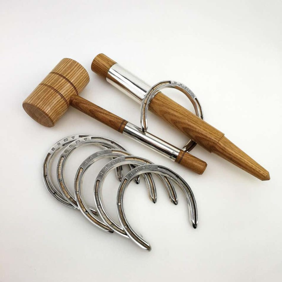 Sterling silver and wood Horseshoe toss game set, circa 1996