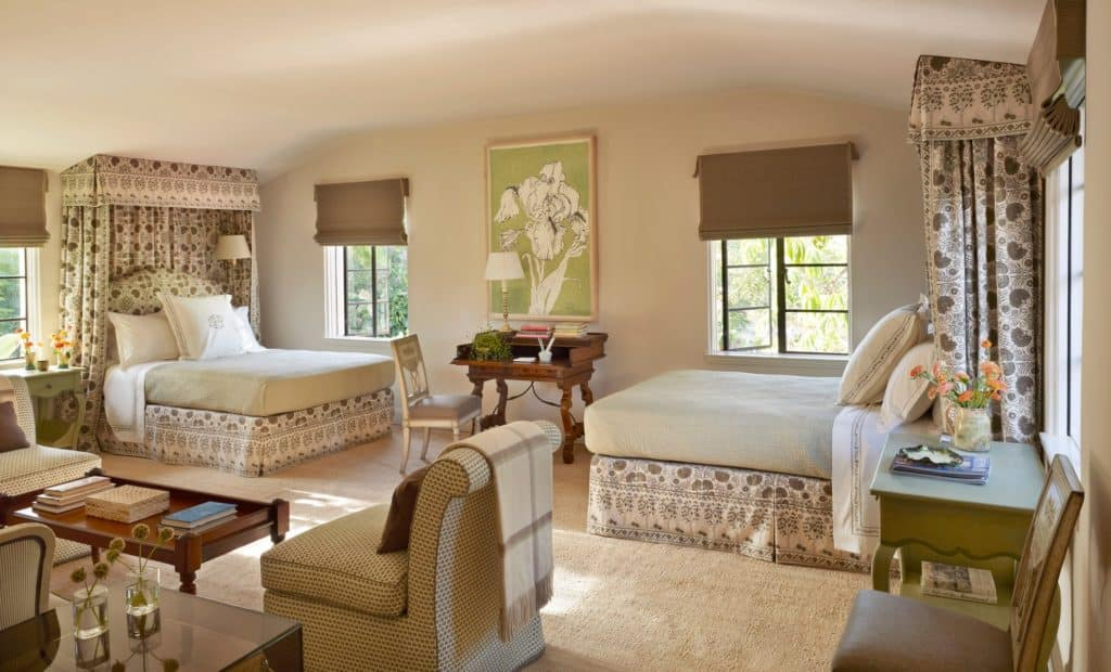 guest room by Suzanne Rheinstein & Associates
