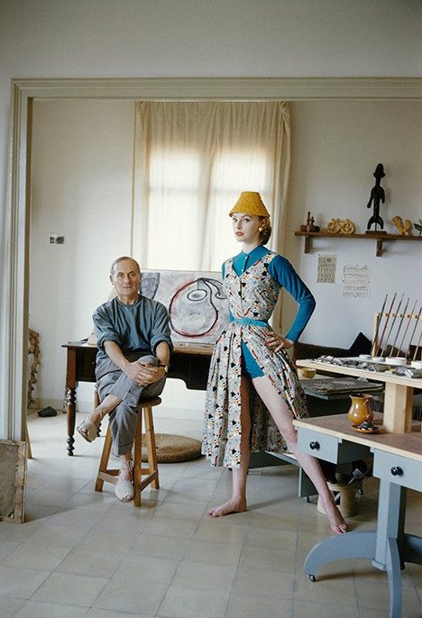 Joan Miró with Model Margaret Philipps in His Studio, 1955, by Mark Shaw
