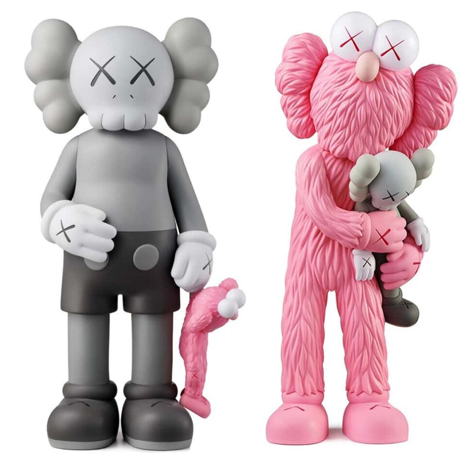 KAWS Share (Gray) and KAWS Take (Pink), set of two, 2020