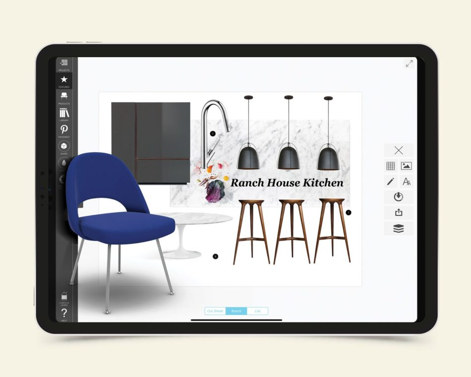 A tablet showing a kitchen moodboard including a blue chair, barstools, light fixtures and cabinets