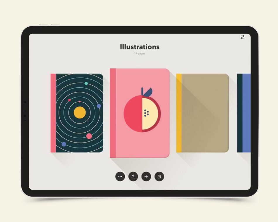 A tablet showing illustrations of a solar system and an apple