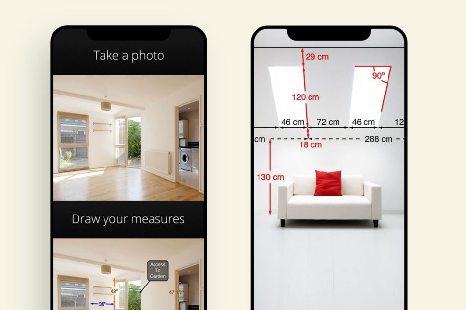 Two phones showing photos of a room and a room with a couch with measurements throughout