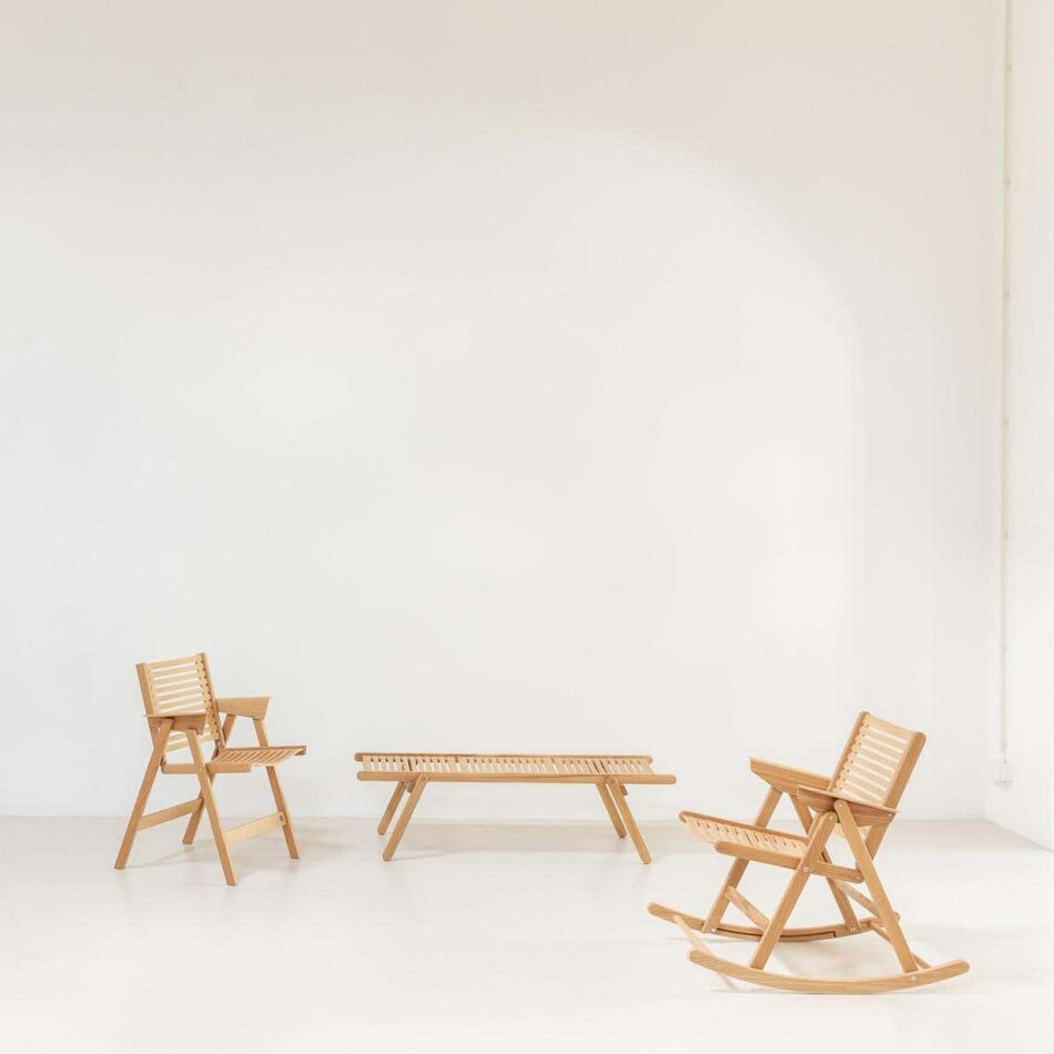 Niko Kralj Rex dining chair, daybed and rocking chair in a natural oak finish