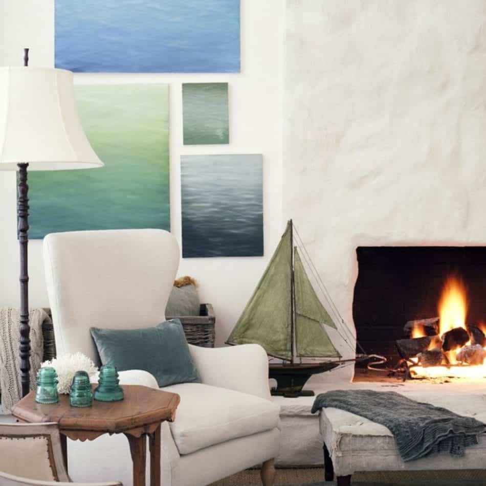 blue and white living room by Giannetti Home