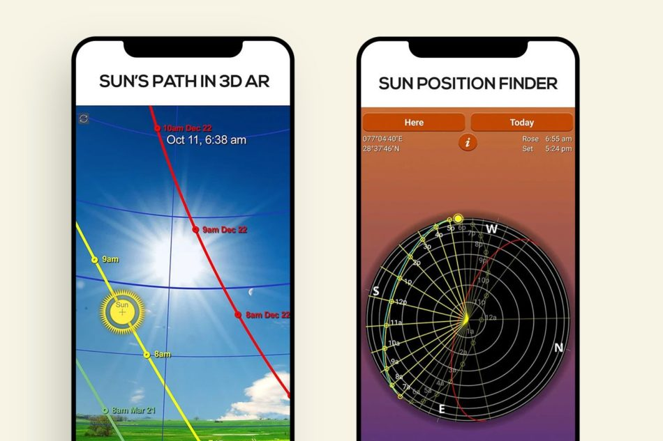 Two phones showing the suns path and a sun position finder