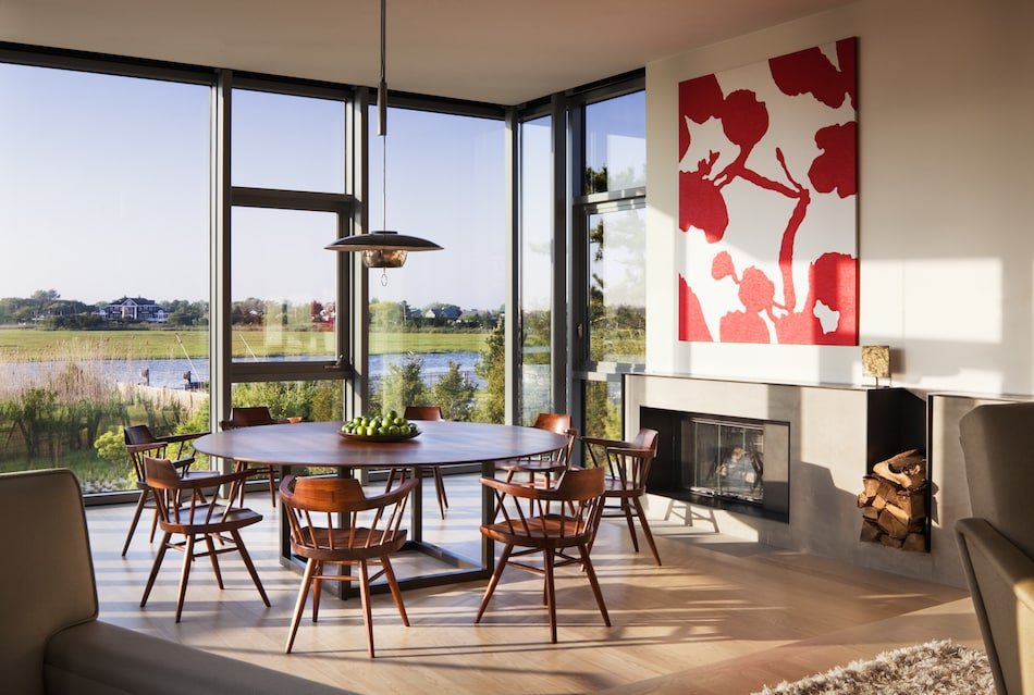 dining area of Moriches, New York beach house by Thad Hayes