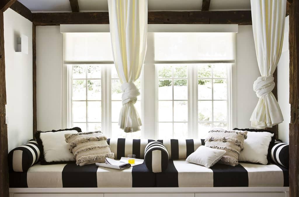 striped window seat