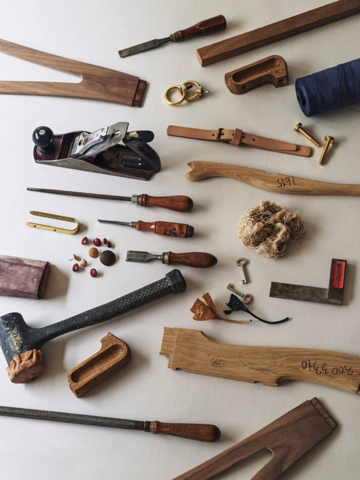 The components and tools used to craft a Wishbone
