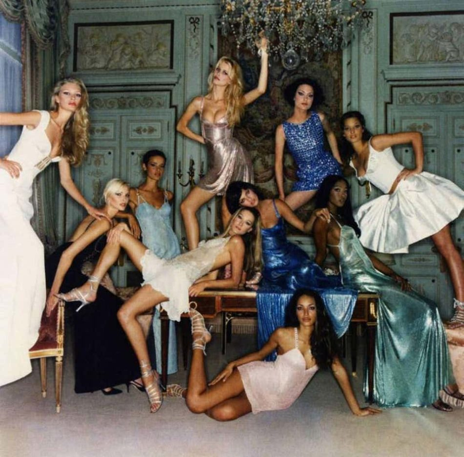 Supermodels -portrait of the famous '90' models dressed in Versace, 1990s, by Michel Comte