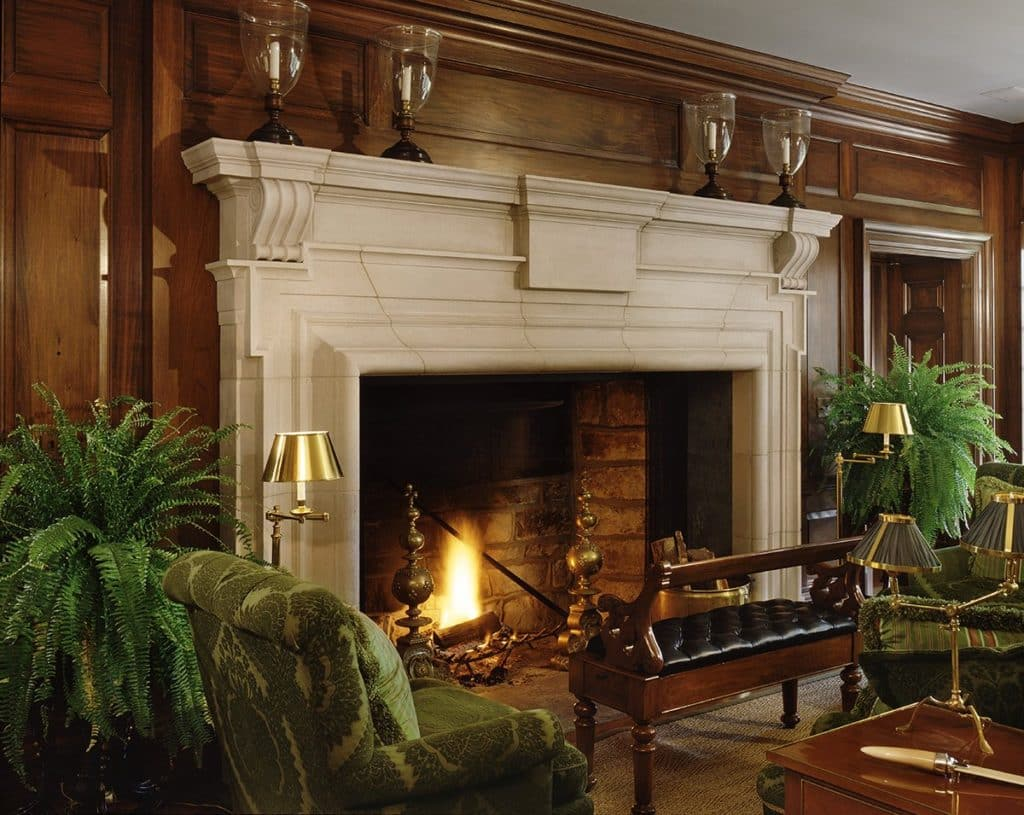 living room fireplace by Allan Greenberg Architect