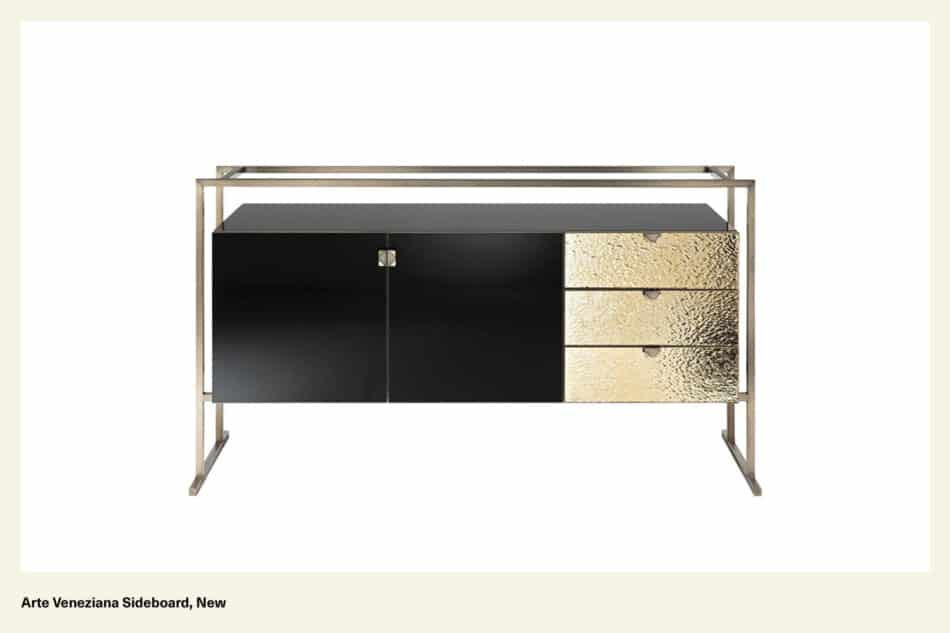A back and gold sideboard with gold metal legs
