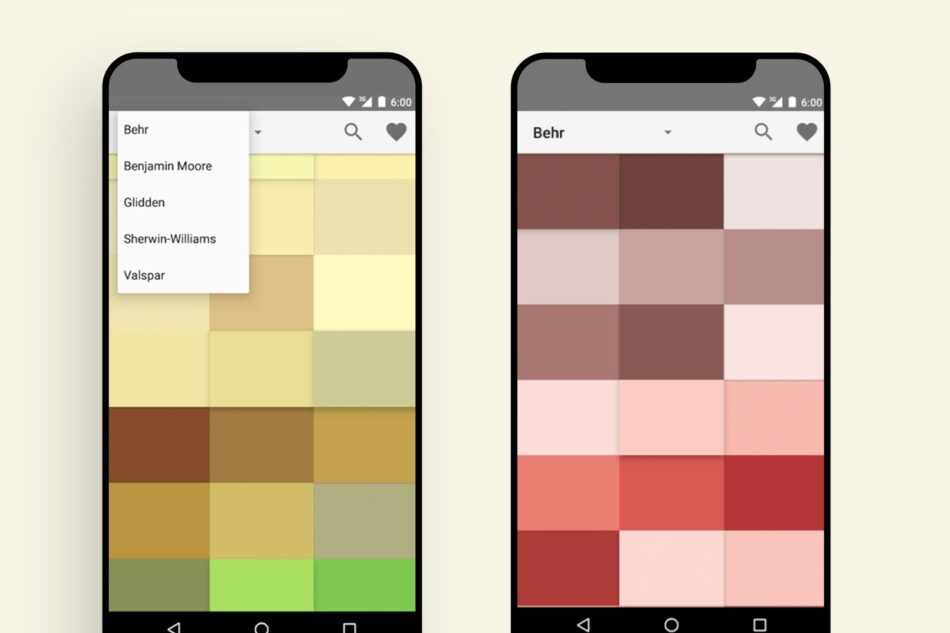 Two phones showing squares of different colors such as yellow, brown, green, red and white