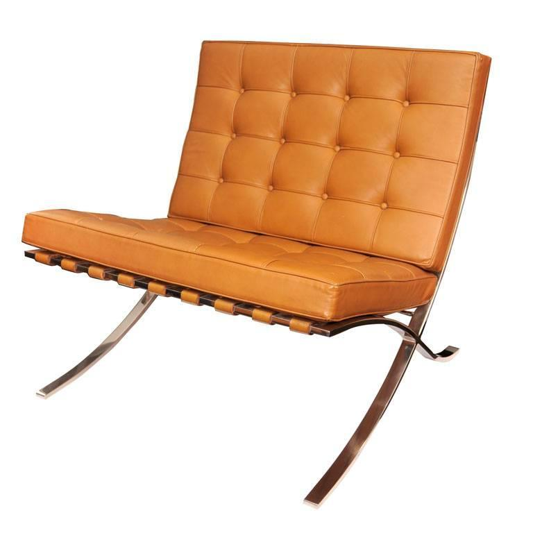 camel leather barcelona chair